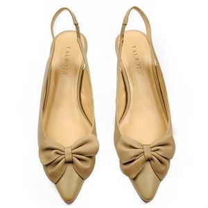 🆕 Pointed Toe Leather Bow Slingback Kitten Heels